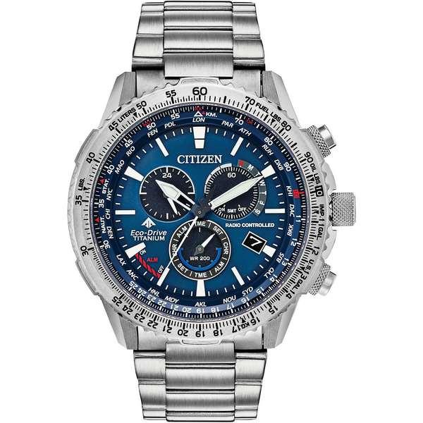 <title>シチズン レディース アクセサリー 腕時計 Silver 全商品無料サイズ交換 Eco-Drive Men's Chronograph Promaster Air Titanium Bracelet Watch 購買 46mm</title>