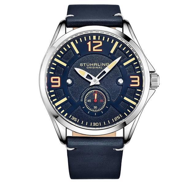 人気が高い スターリング レディース 腕時計 アクセサリー Men's Blue Leather Strap Watch 43mm Blue, 香寺町 3a14e041