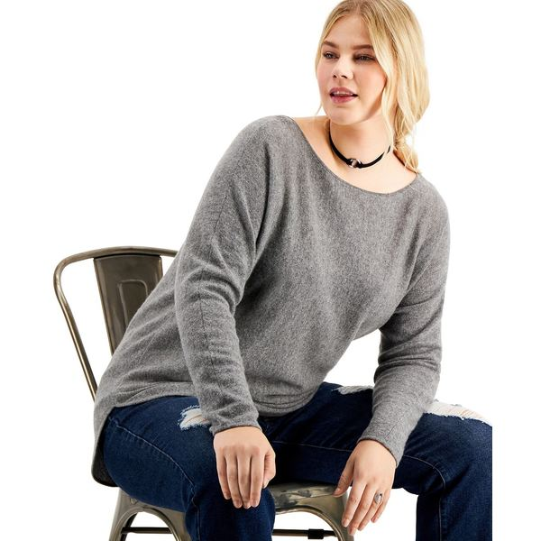 Shirttail Heather Plus Grey Cashmere Sweater, レディース ニット&セーター チャータークラブ アウター Medium Size