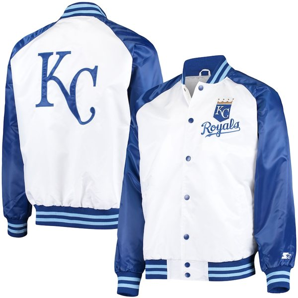 スターター メンズ ジャケット&ブルゾン アウター Kansas City Royals Starter Clean-Up Hitter Full-Snap Jacket White/Royal