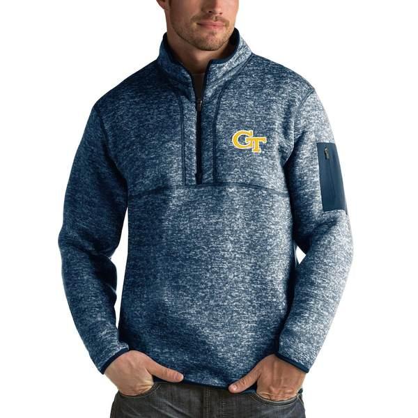 アンティグア メンズ ジャケット&ブルゾン アウター GA Tech Yellow Jackets Antigua Fortune 1/2-Zip Pullover Sweater Heathered Navy