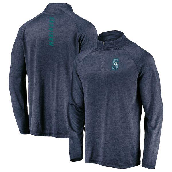 マジェスティック メンズ ジャケット&ブルゾン アウター Seattle Mariners Majestic Contenders Welcome Quarter-Zip Mock Neck Pullover Jacket Navy