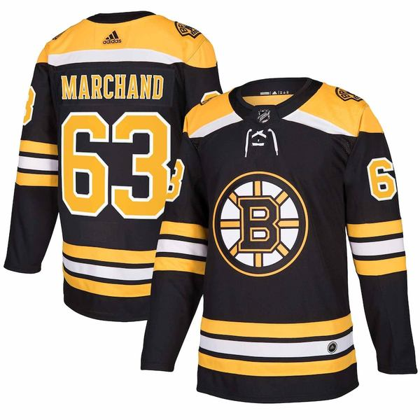 アディダス メンズ シャツ トップス Brad Marchand Boston Bruins adidas Authentic Player Jersey Black