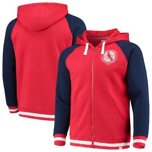 ファナティクス メンズ パーカー・スウェットシャツ アウター St. Louis Cardinals Fanatics Branded True Classics Stripe Full-Zip Fleece Hoodie Red