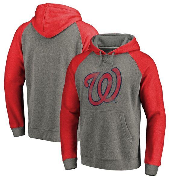 ファナティクス メンズ パーカー・スウェットシャツ アウター Washington Nationals Fanatics Branded Distressed Team Logo Tri-Blend Big & Tall Raglan Pullover Hoodie Gray/Red