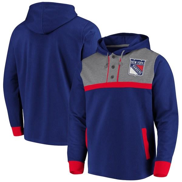 ファナティクス メンズ パーカー・スウェットシャツ アウター New York Rangers Fanatics Branded True Classics 3-Button Pullover Hoodie Blue/Heathered Gray