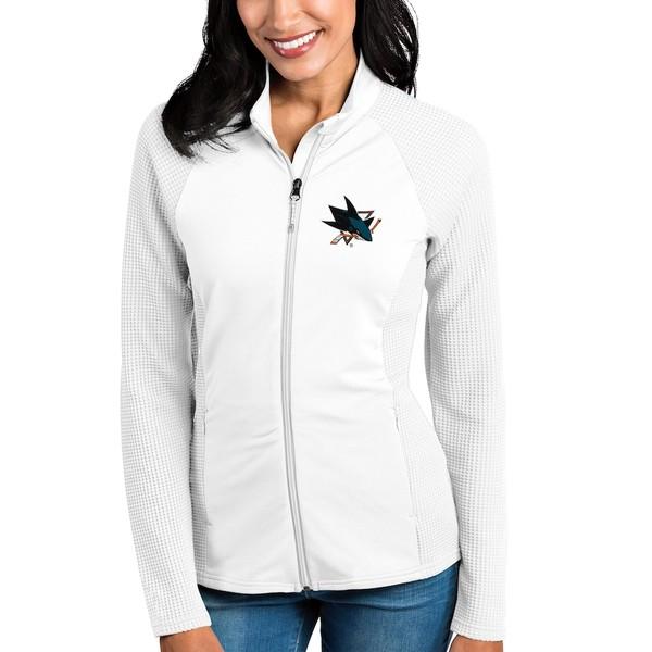アンティグア レディース ジャケット&ブルゾン アウター San Jose Sharks Antigua Women's Sonar Full-Zip Jacket White