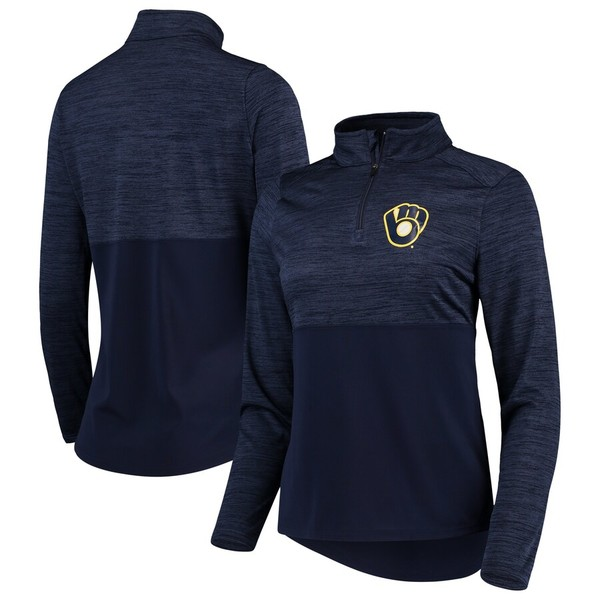 ファナティクス レディース ジャケット&ブルゾン アウター Milwaukee Brewers Fanatics Branded Women's Quarter-Zip Pullover Jacket Navy