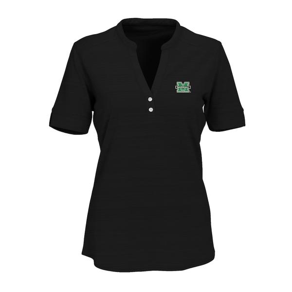 ビンテージアパレル レディース シャツ トップス Marshall Thundering Herd Women's Strata Textured Henley Shirt Black