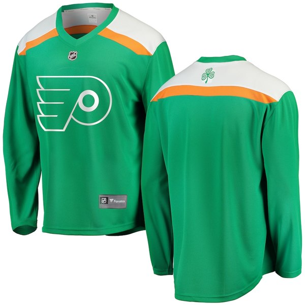 ファナティクス メンズ シャツ トップス Philadelphia Flyers Fanatics Branded St. Patrick's Day Replica Blank Jersey Green