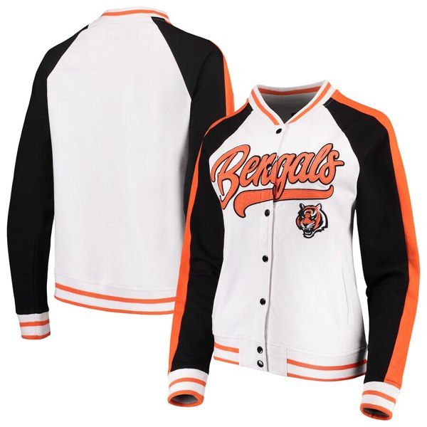 ニューエラ レディース ジャケット&ブルゾン アウター Cincinnati Bengals New Era Women's Varsity Full Snap Jacket White/Black