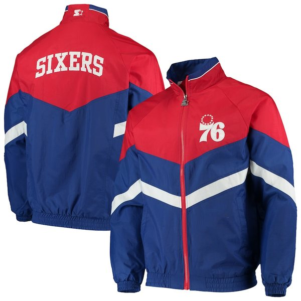 スターター メンズ ジャケット&ブルゾン アウター Philadelphia 76ers Starter Bank Shot Oxford Full-Zip Jacket Royal/Red