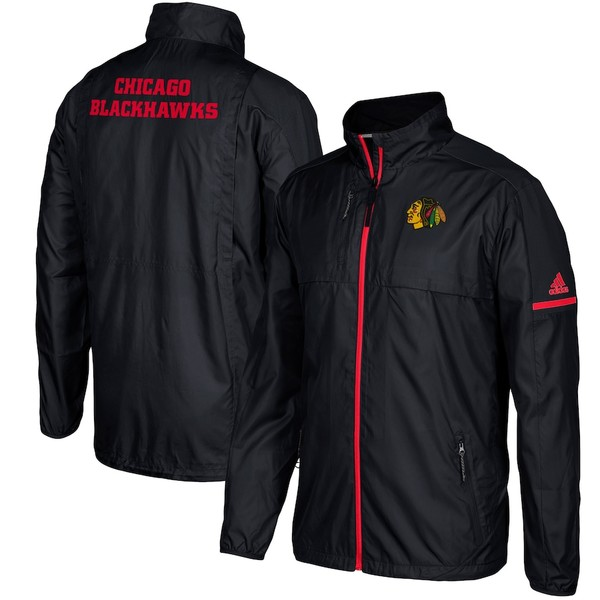 アディダス メンズ ジャケット&ブルゾン アウター Chicago Blackhawks adidas Authentic Rink Full-Zip Jacket Black