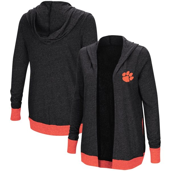 コロシアム レディース シャツ トップス Clemson Tigers Colosseum Women's Plus Size Steeplechase Open Hooded Tri-Blend Cardigan Charcoal
