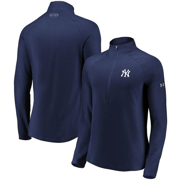 アンダーアーマー レディース ジャケット&ブルゾン アウター New York Yankees Under Armour Women's Passion Performance Tri-Blend Raglan Half-Zip Pullover Jacket Navy