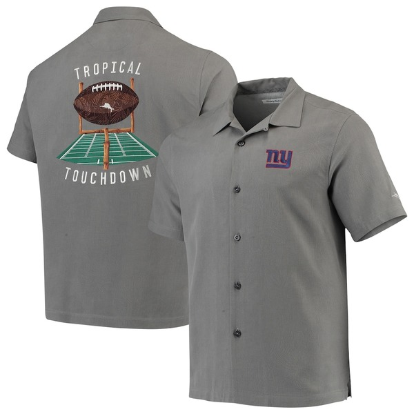 トッミーバハマ メンズ シャツ トップス New York Giants Tommy Bahama Sport Tropical Touchdown Camp Button-Up Shirt Gray