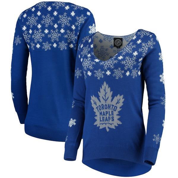 フォコ レディース シャツ トップス Toronto Maple Leafs Women's Snowflake V-Neck Sweater Blue