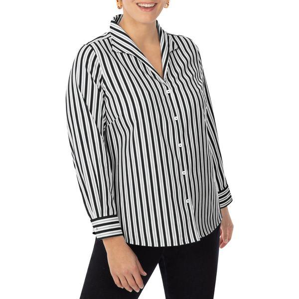 フォックスクラフト レディース トップス カットソー Black 全商品無料サイズ交換 フォックスクラフト レディース カットソー トップス Cisley Stripe Non-Iron Shirt Black