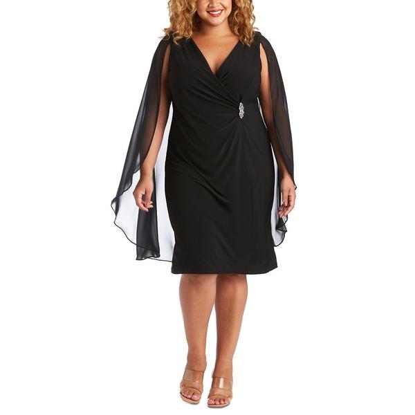 【保障できる】 アールアンドエムリチャーズ レディース ワンピース トップス Plus Size Embellished Chiffon-Cape Dress Black, モデルサイズ専門 Fabulous Shoes 424a53f9