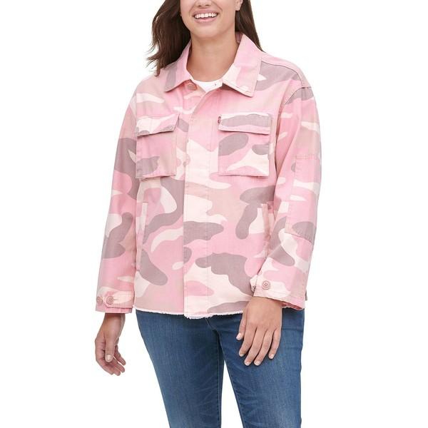 リーバイス アイテム勢ぞろい レディース アウター ジャケット ブルゾン Pink Camo 全商品無料サイズ交換 Trendy Camo-Print 購入 Jacket High-Low Hem Cotton Size Plus