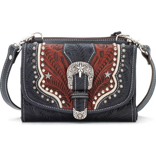 アメリカンウェスト レディース 財布 アクセサリー Texas Two Step Wallet/Bag Navy Blue/Distressed Crimson/Cream
