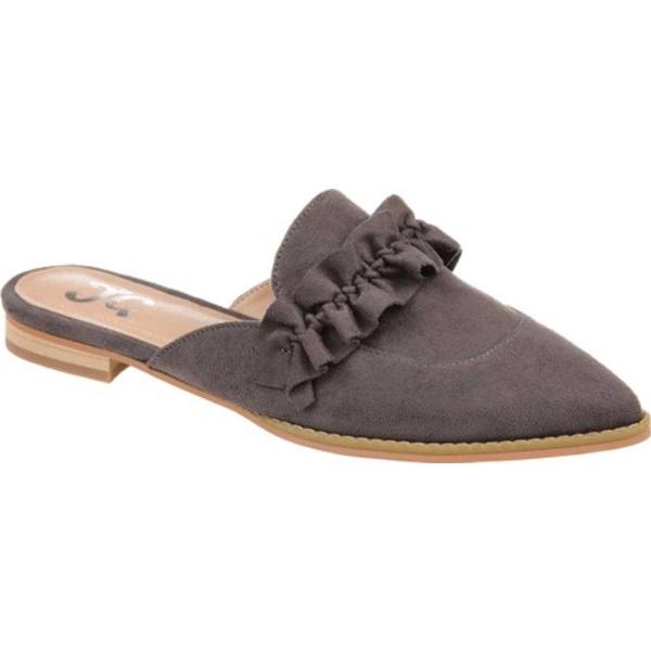 ジャーニーコレクション レディース サンダル シューズ Kessie Pointed Toe Mule Grey Microsuede Fabric