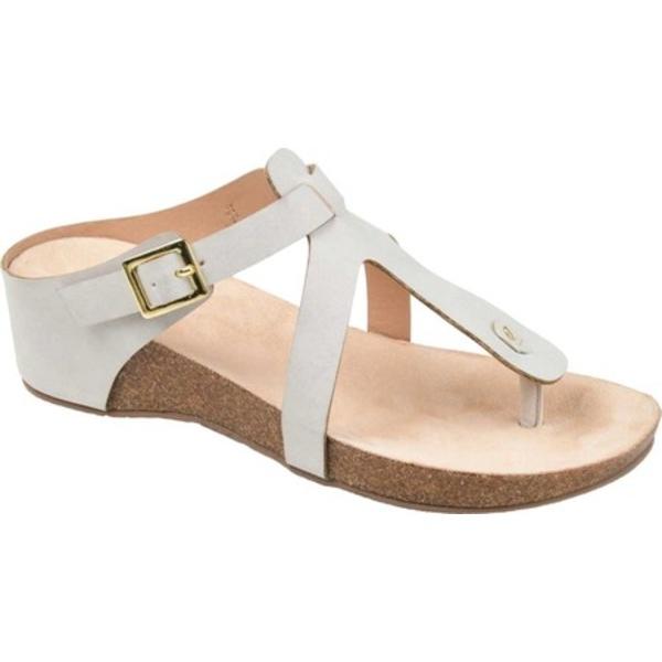 ジャーニーコレクション レディース サンダル シューズ Navara Wedge Thong Sandal Grey Faux Leather