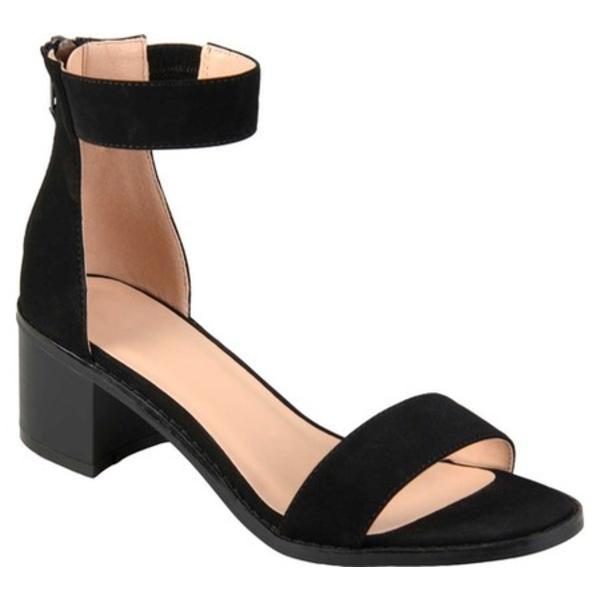 ジャーニーコレクション レディース サンダル シューズ Percy Ankle Strap Heeled Sandal Black Faux Nubuck