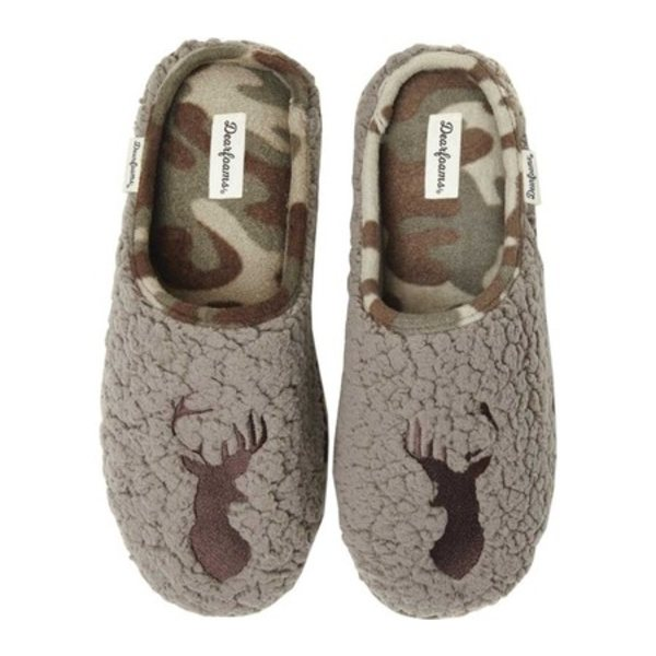 ディアフォームズ メンズ サンダル シューズ Embroidered Animal Character Clog Slipper Brown Stag Sherpa