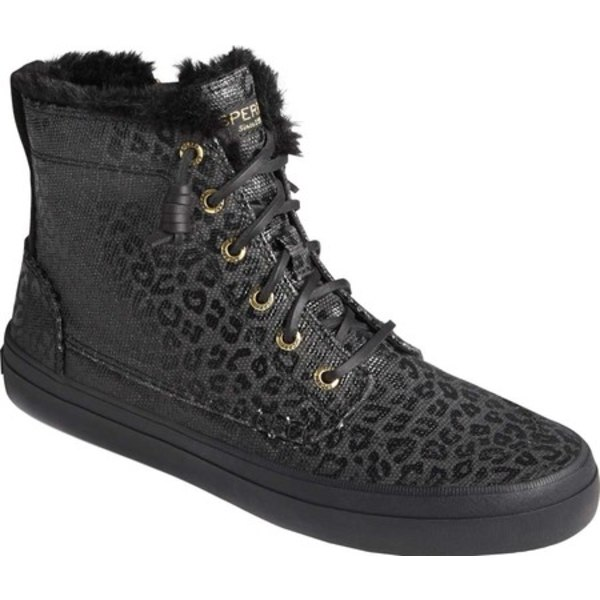 トップサイダー レディース スニーカー シューズ Crest Animal Print High Top Sneaker Black/Black Canvas