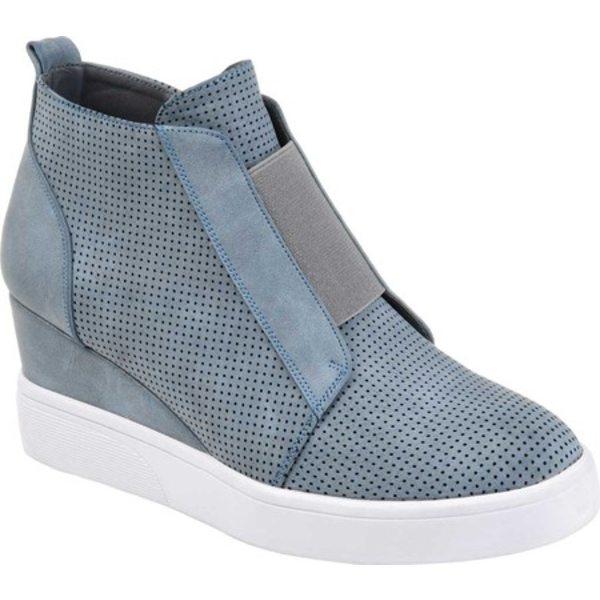 ジャーニーコレクション レディース スニーカー シューズ Clara Wedge Sneaker Blue Faux Leather
