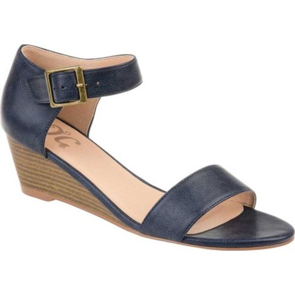 ジャーニーコレクション レディース サンダル シューズ Gladis Wedge Sandal Navy Distressed Faux Leather