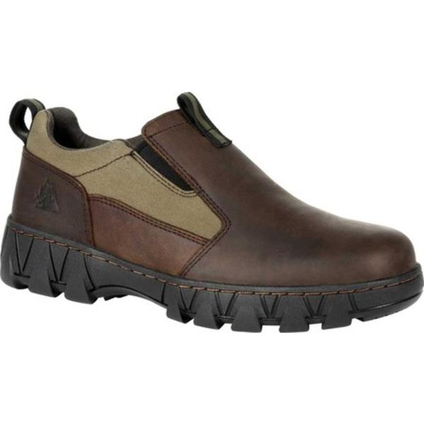 ロッキー メンズ ブーツ&レインブーツ シューズ Oak Creek Slip On Shoe RKS0483 Brown/Green Waxhide Canvas/Full Grain Leather