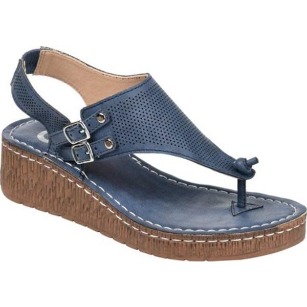 ジャーニーコレクション レディース サンダル シューズ McKell Wedge Thong Sandal Blue Perforated Faux Leather