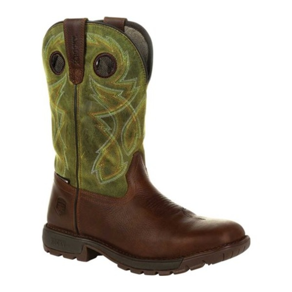 ロッキー メンズ ブーツ&レインブーツ シューズ Legacy 32 Waterproof Western Boot RKW0318 Brown/Green Full Grain Leather