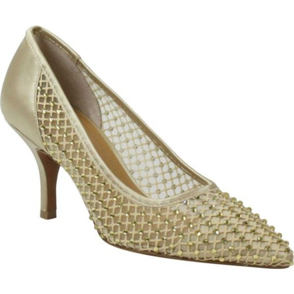 ジェイレニー レディース オックスフォード シューズ Kenitr High Taper Toe Pump Gold Rhinestone Mesh/Satin Fabric