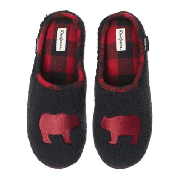 ディアフォームズ メンズ サンダル シューズ Embroidered Animal Character Clog Slipper Black/Red Bear Sherpa