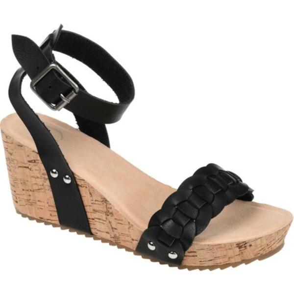 ジャーニーコレクション レディース サンダル シューズ Brynklee Ankle Strap Wedge Sandal Black Faux Leather