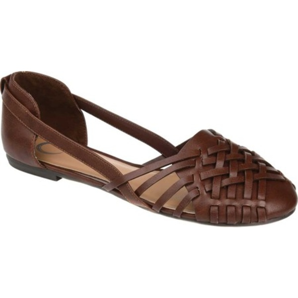 ジャーニーコレクション レディース サンダル シューズ Ekko Flat Brown Faux Leather