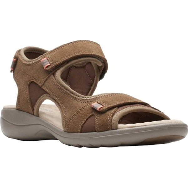 クラークス レディース サンダル シューズ Saylie Spin Sport Sandal Taupe Suede
