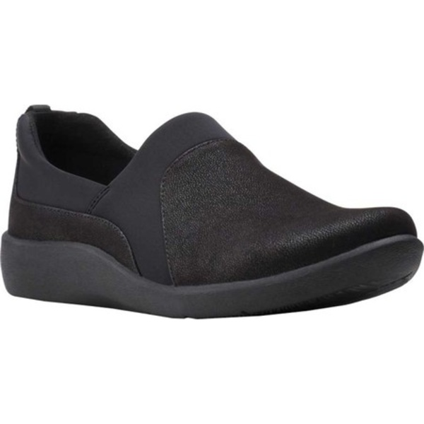 クラークス レディース スニーカー シューズ Sillian Bliss Slip On Sneaker Black Synthetic Leather