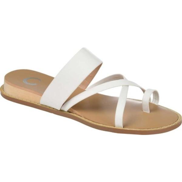 ジャーニーコレクション レディース サンダル シューズ Eevie Toe Loop Sandal White Faux Leather