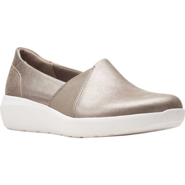 クラークス レディース スニーカー シューズ Kayleigh Step Slip On Sneaker Gunmetal Metallic Leather