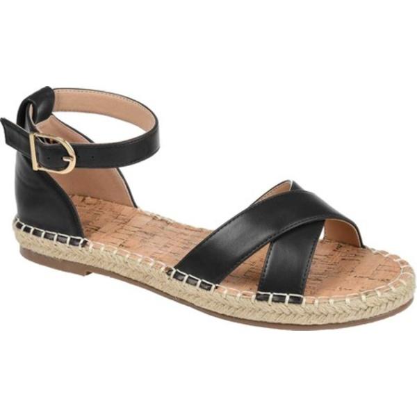 ジャーニーコレクション レディース サンダル シューズ Lyddia Espadrille Ankle Strap Sandal Black Faux Leather
