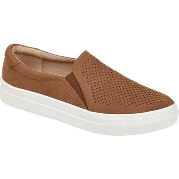 ジャーニーコレクション レディース スニーカー シューズ Faybia Perforated Slip On Sneaker Cognac Faux Leather