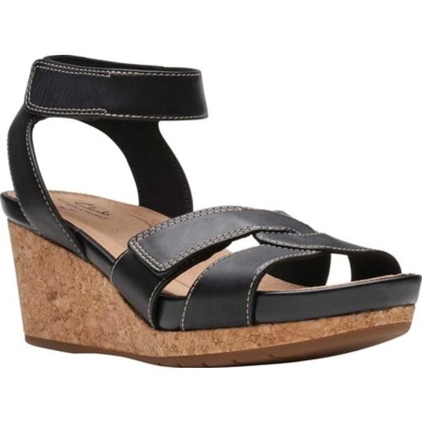 クラークス レディース サンダル シューズ Un Capri Strap Wedge Sandal Black Full Grain Leather