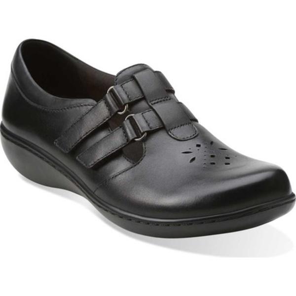 クラークス レディース スニーカー シューズ Ashland Harbor Black Leather