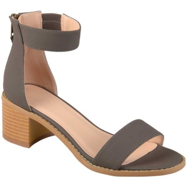 ジャーニーコレクション レディース サンダル シューズ Percy Ankle Strap Heeled Sandal Grey Faux Nubuck