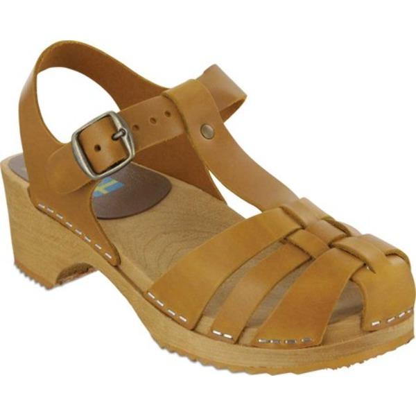 ミア レディース サンダル シューズ Emilly Swedish Clog T Strap Sandal Tan Italian Leather
