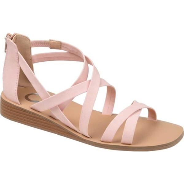 ジャーニーコレクション レディース サンダル シューズ Lanza Wedge Strappy Sandal Pink Faux Leather